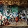 Oratorium Santa Barbara, cykl upamiętniający życie papieża Grzegorza I, anioł między biedakami (Grzegorz po prawej), Antonio Viviani, początek XVIII wieku