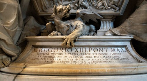 Tombstone of Pope Gregory XIII, fragment, Basilica of San Pietro in Vaticano