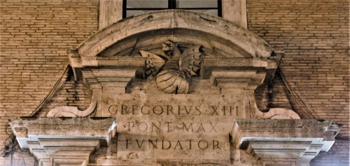 Dragon – element of the Boncompagni coat of arms in front of the enterance to the Gregoriana