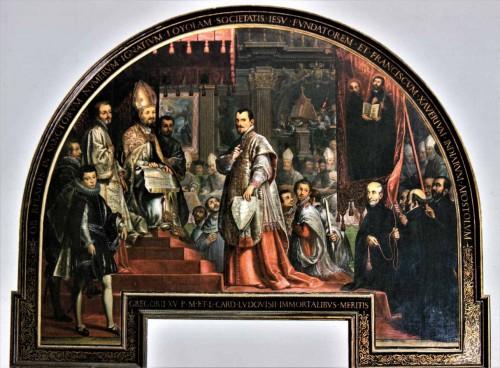 Papież Grzegorz XV i kardynał Ludovico Ludovisi w trakcie kanonizacji śś. Ignacego Loyoli i Franciszka Ksawerego, zakrystia kościoła Il Gesù