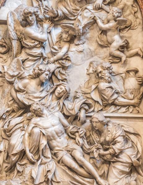 Domenico Guidi, Pieta, fragment, Cappella del Monte di Pietà, Palazzo del Monte di Pietà