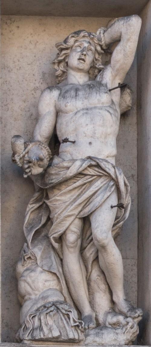 Domenico Guidi, St. Sebastian, façade of the Basilica of Sant'Andrea della Valle