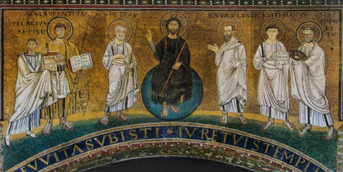 Mosaic from the times of Pelagius, last on the right – St. Hippolytus, Basilica of San Lorenzo fuori le mura