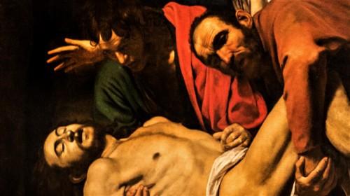 Złożenie do grobu, Caravaggio, fragment, Musei Vaticani
