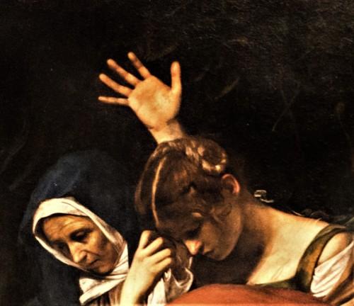 Złożenie do grobu, Caravaggio, Matka Boska i Maria Magdalena pogrążone w smutku, Musei Vaticani