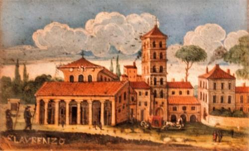 Basilica of San Lorenzo fuori le mura, view of the church from the beginning of the XVII century, Muso di Roma,  Palazzo Braschi