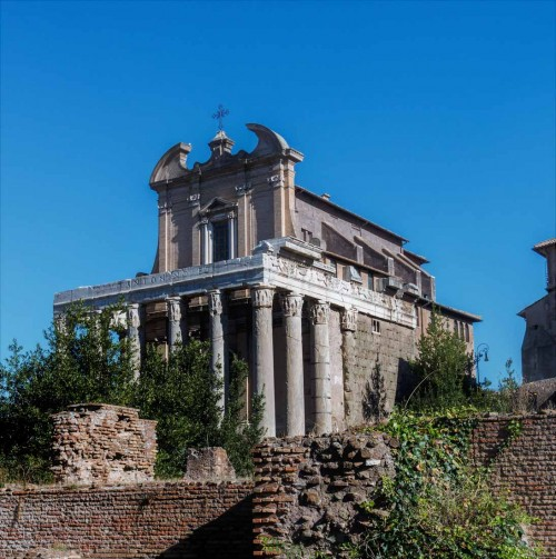 Church of San Lorenzo in Miranda, the legendary location of the judgement and sentencing to death of deacon Lawrence, view of façade from Forum Romanum