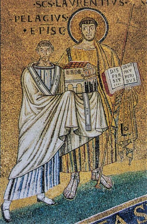 Św. Wawrzyniec jako patron papieża Pelagiusza (fundatora kościoła), kościół San Lorenzo fuori le mura