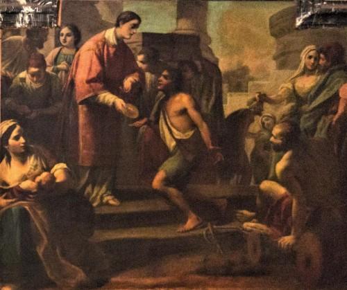 Św. Wawrzyniec rozdający chleb potrzebującym, Giovanni Battista Speranza, kościół San Lorenzo in Fonte (Santi Lorenzo e Ippolito)