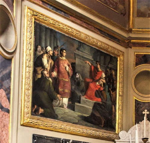 St. Lawrence with the Poor in front of Emperor Valerian, Giuseppe Creti, Church of San Lorenzo in Lucina