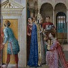 Św. Wawrzyniec otrzymujący od papieża Sykstusa II skarby kościelne, Fra Angelico, Kaplica papieża Mikołaja V, pałac Apostolski